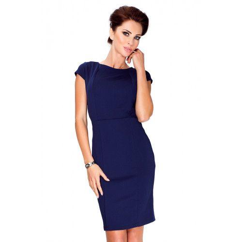 Elegancka sukienka z krótkim rękawkiem - Granatowa S zdjęcie 1