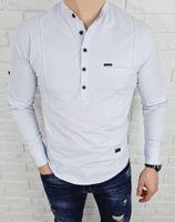 Blekitna koszula męska slim fit zapiecie do polowy 0376 - XXL