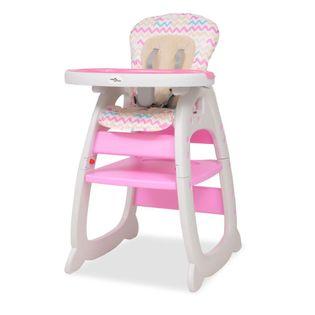 Wysokie krzesełko 3 w 1 z różowym stołem