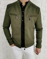 Materialowa przejsciowa kurtka meska khaki ozdobne zamki Stylovy - XXL