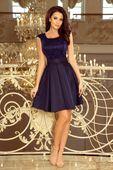 Rozkloszowana sukienka z kontrafaładami - Granatowy XL
