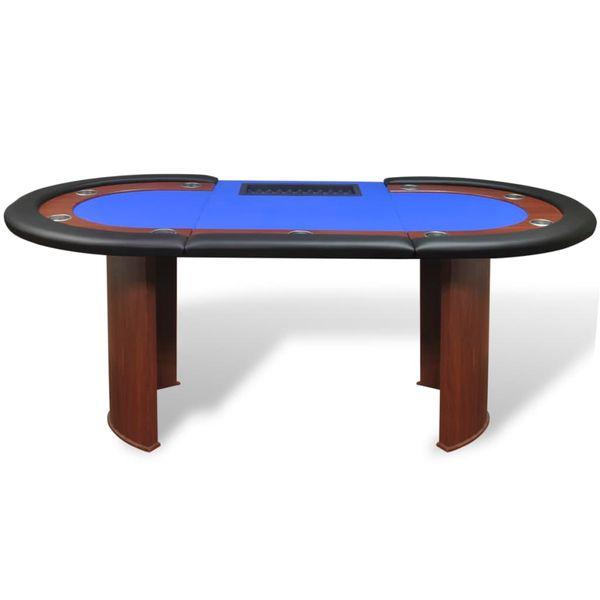 Stół do pokera dla 10 graczy z tacą na żetony, niebieski zdjęcie 3