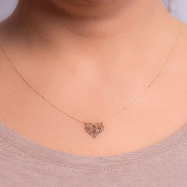 Złoty Naszyjnik Celebrytka Serce Origami Grawer zdjęcie 4