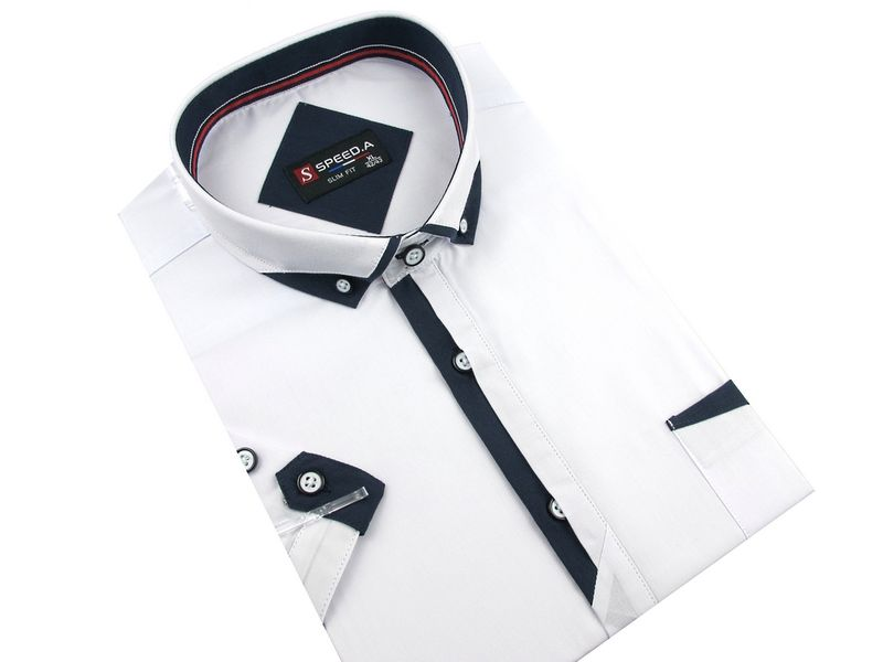 3240aedd38ae Koszula Męska Speed.A gładka biała SLIM FIT na krótki rękaw K654 40 ...