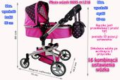 Mega Wózek Wielofunkcyjny Dla Lalek - 16 FUNKCJI Kolor - Różowy
