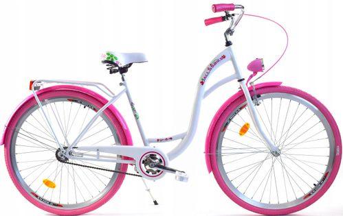 """Rower Dallas City 28"""" 1spd - biały z różem"""