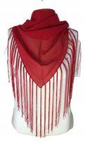 APASZKA szalik damski czerwony frędzle