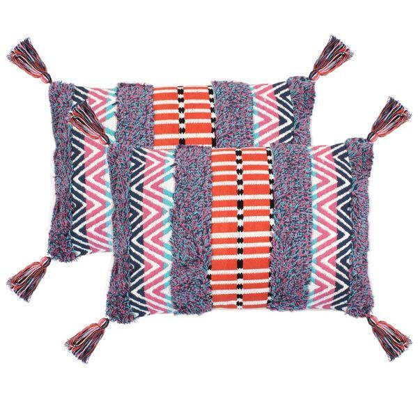 2 poduszki, 40x60 cm, styl boho, wielokolorowe zdjęcie 1
