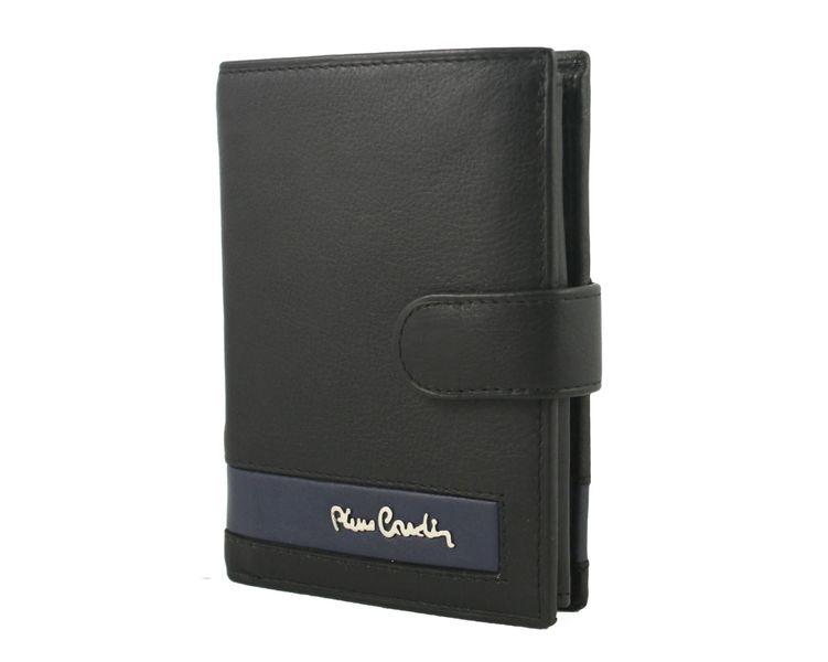 68e2988fefc95 Skórzany portfel męski Pierre Cardin RFID czarny z niebieską wstawką  zdjęcie 2