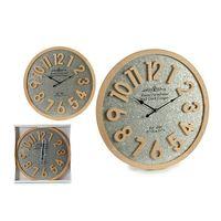 Zegar Ścienny Srebro Drewno (3,5 x 60 x 60 cm)