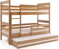 Łóżko piętrowe 3 osobowe dla trójki dzieci Eryk 190x80 dziecko+STELAŻ