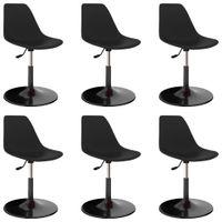 Obrotowe krzesła stołowe, 6 szt., czarne, PP