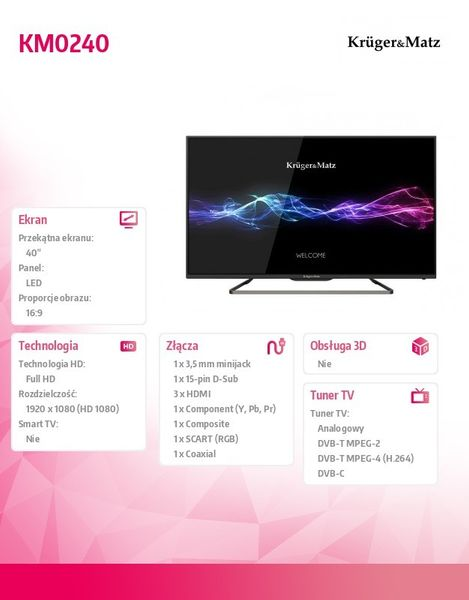 Kruger & Matz Telewizor 40 DVBT HD USB HDMI zdjęcie 7