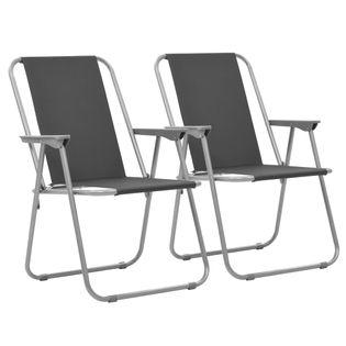 Składane Krzesła Turystyczne, 2 Szt., 52 X 59 X 80 Cm, Szare
