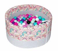 Bezpieczny suchy basen dla dzieci na 150 piłeczek - wzór jednorożce