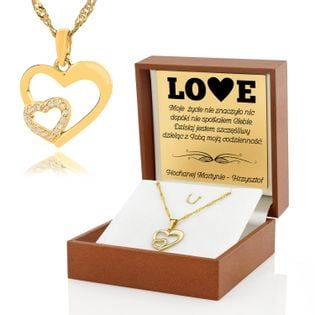Złoty komplet 585 SERCE prezent WALENTYNKI GRAWER