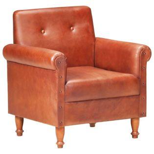 Fotel klubowy, brązowy, skóra naturalna