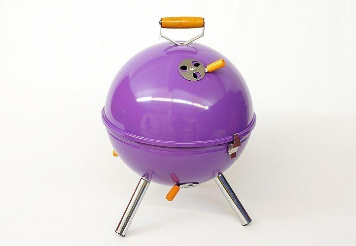 Grill ogrodowy węglowy okrągły, mini grill bbq kolor fioletowy zdjęcie 2