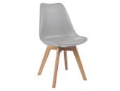 Nowoczesne krzesło z poduszką JASNOSZARE/BUK skandynawskie RETRO KRIS
