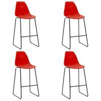 Krzesła barowe 4 szt. czerwone plastik VidaXL