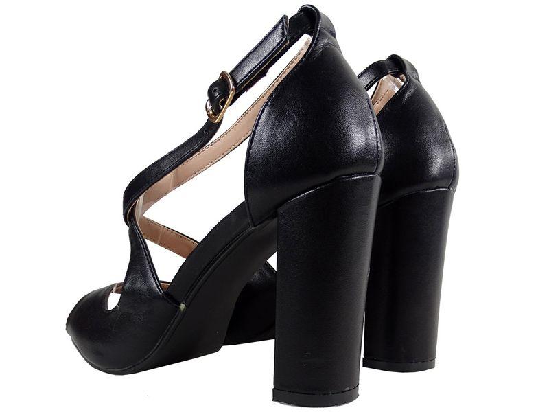 Czarne sandały na słupku eko skóra buty damskie 38 na Arena.pl