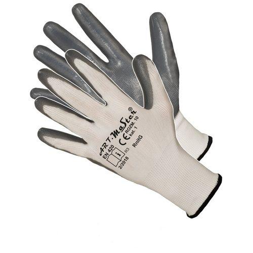 Rękawice rękawiczki Robocze ochronne nylonowe oblewane nitrylem RnitG na Arena.pl