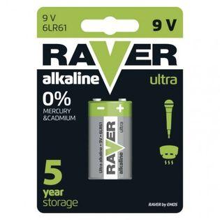 Bateria alkaliczna Raver Ultra Alkaline 9V (6LF22) blister 1