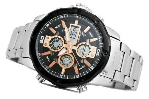 Zegarek Męski Perfect A8026B-1 Dual Time Iluminacja I Fluorescencja na Arena.pl