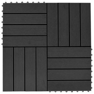 Płytki tarasowe, 11 szt., WPC, 30 x 30 cm, 1 m², czarne GXP-680865