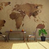 Fototapeta - Herbaciana mapa świata Rozmiar - 450x270