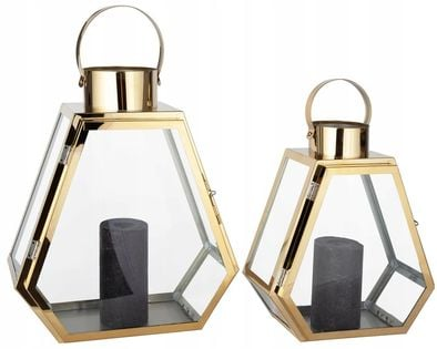 Latarnia Lampiony na Świeczkę Świecznik Złoty 2 szt 28cm/35cm