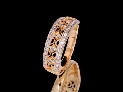 P610 Złoty pierścionek z akwamarynami i cyrkoniami. Próba 585