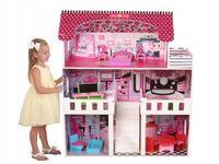 duży 3 piętrowy drewniany domek dla lalek barbie