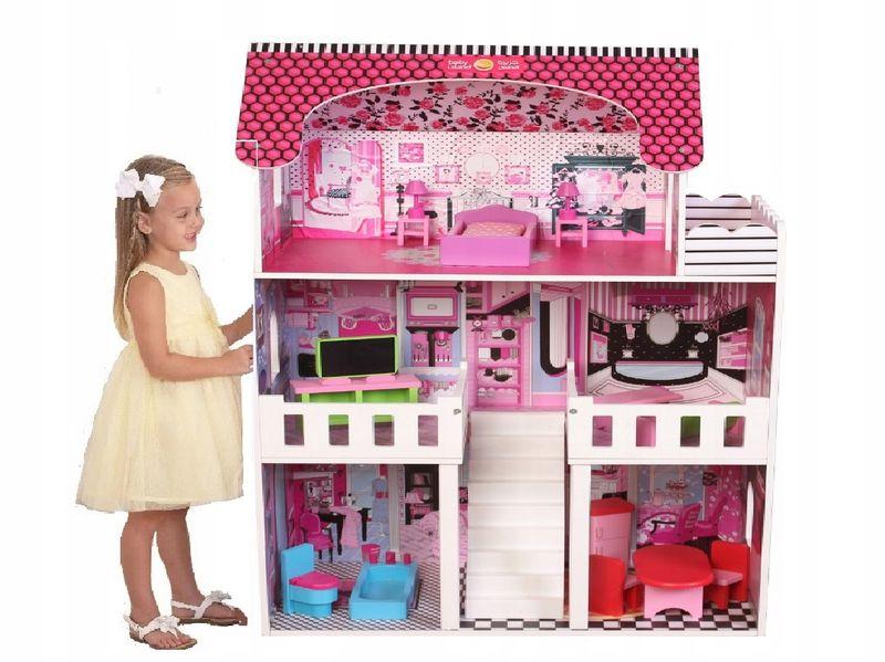 duży 3 piętrowy drewniany domek dla lalek barbie zdjęcie 1