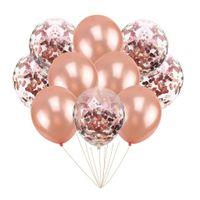 Balony rose gold i z konfetti różowo złotym, 30 cm 10 szt.