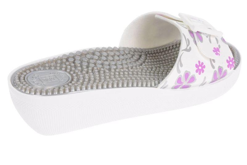 bfcbf79f4c0a2 KLAPKI FAKIRKI Z KOLCAMI MEDYCZNE Kolor - Biały Filet Kwiat, Rozmiar - 40  zdjęcie 3