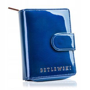 BETLEWSKI portfel damski skórzany mały lakierowany