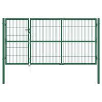 Brama ogrodzeniowa ze słupkami, 350 x 140 cm, stalowa, zielona