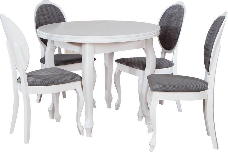 Stół 4 Krzesła Zestaw Z002 Biały Mat Ludwik