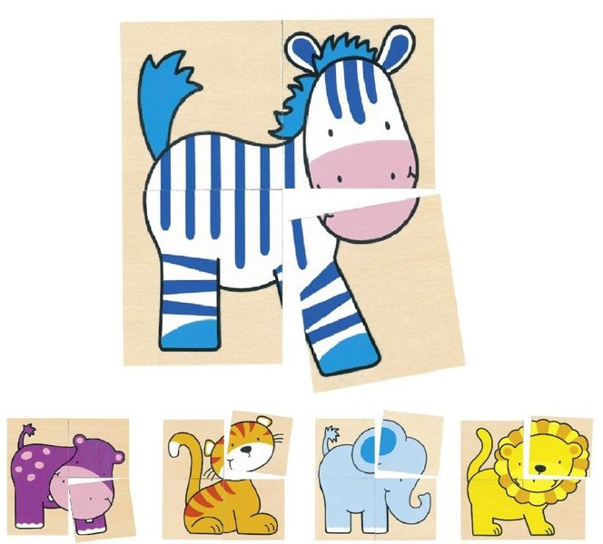 Puzzle kostki z dzikimi zwierzętami zdjęcie 1