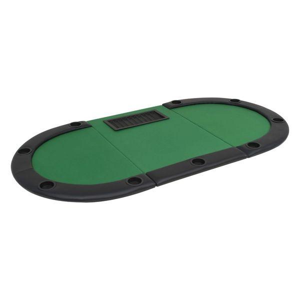 Składany, owalny stół do pokera dla 9 graczy, zielony zdjęcie 5