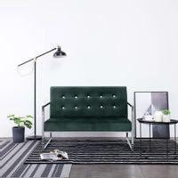 2-osobowa sofa z podłokietnikami, ciemnozielona, chrom, aksamit