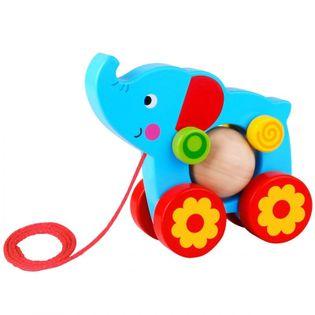 Tooky Toy Drewniany Słoń Do Ciągnięcia Za Sznureczek