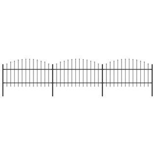 Panele ogrodzeniowe z grotami stal (1-1.25)x5.1m czarne VidaXL