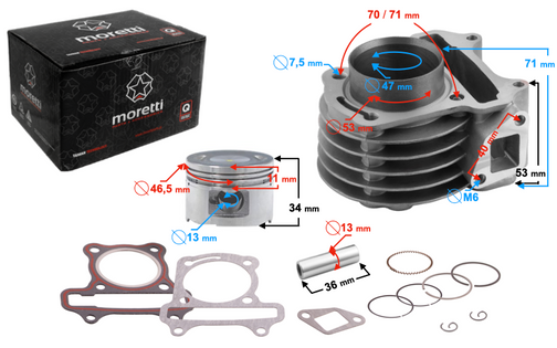 Cylinder Moretti do skutera 4T 80cc 139QMB