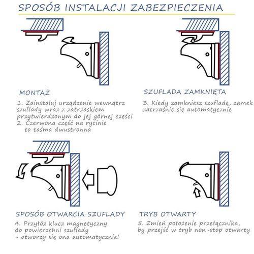 Magnetyczna NIEWIDOCZNA blokada szuflady i szafki  4szt na Arena.pl