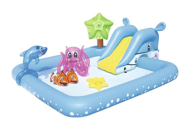 Basen dla dzieci Bestway 53052 ze zjeżdżalnią i zabawkami 239x206x86cm na Arena.pl