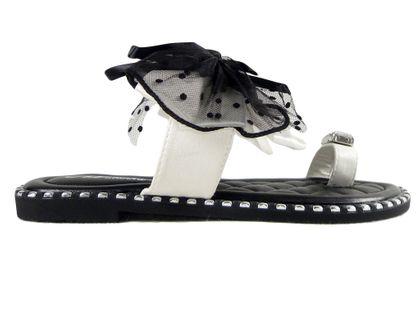 Klapki damskie czarne buty z białą wstążką 40