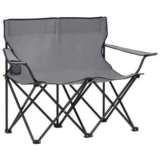 Lumarko 2-osobowe, składane krzesło turystyczne, stal i tkanina, szare!