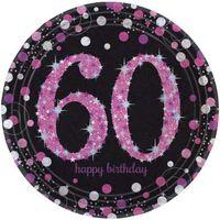 Talerzyki HOLOGRAFICZNE różowe na 60 urodziny x8